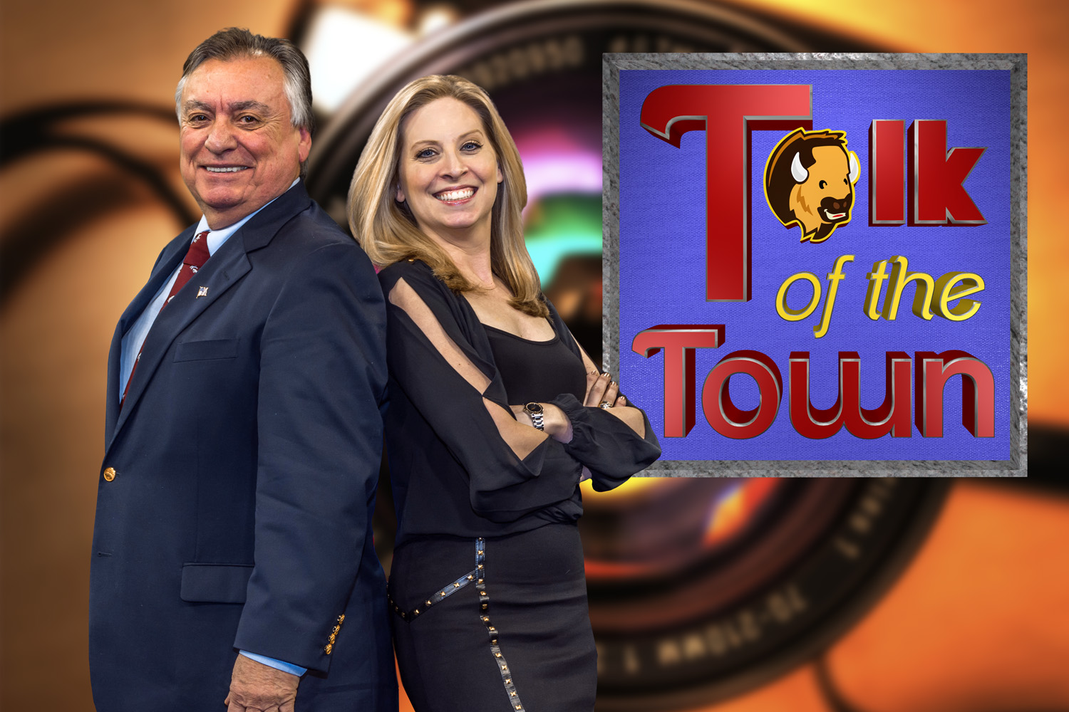Talk of the Town Phil and Kim back to back with Logo for print